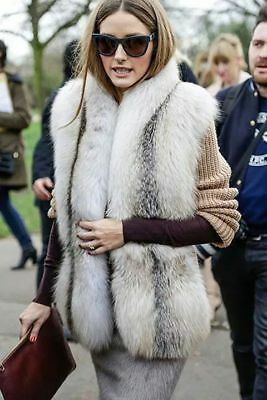 Daryl K Natural Blue Fox Fur Vest Retail $2,495 Stunning Olivia Palermo