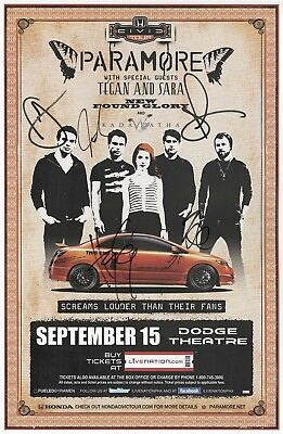 paramore authentic autographed concert signed 2010 tour poster haley williams
