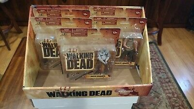Walking Dead Series 1 - 5 Figures Rick Grimes B&w Daryl W/ Display Case See Pics