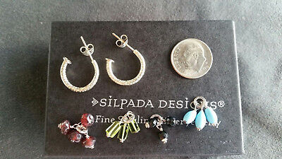 New Silpada Sterling Silver Post Hoop Interchangable Earrings P1180 Rare Retired