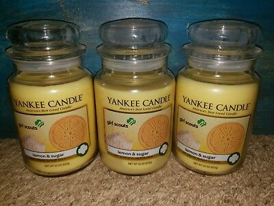 Yankee Candle Girl Scouts Lemon And Sugar Rare Set 3 Large 22 Oz Cookie Bakery