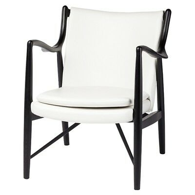 """33.3"""" Tall Occasional Chair White Leather Seat Solid Ash Frame Unique Design"""