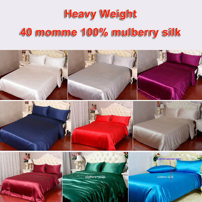 4pc 40mm 100% Mulberry Silk Duvet Quilt Cover Fitted Bottom Sheet Pillowcase Set
