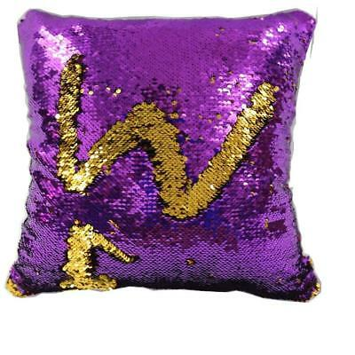 Trlyc Mermaid Sparkling Purple And Gold Sequin Throw Pillow Magic Glitter...