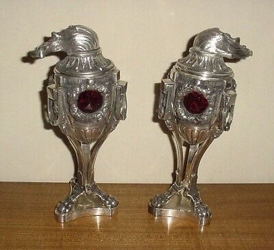 Antique Plated Bronze W Red Glass Stones Pair Votive Candle Holders Covered Urns
