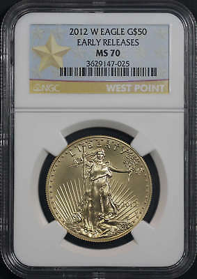 2012-w $50 American Gold Eagle Ngc Ms-70 Early Release West Point Label