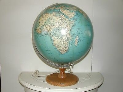"""Vintage World Globe With Wooden Stand And Light 13""""."""