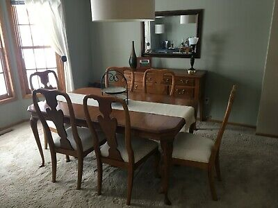Pennsylvania House Solid Oak Formal Dining Room Table & 6 Thomasville Chairs C99