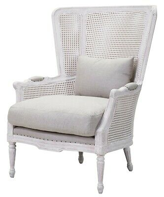 """29"""" W Dino Occasional Chair Distressed White Carved Wooden Frame Woven Rattan"""
