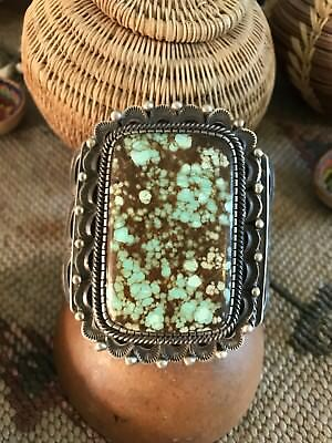 Rick Martinez Navajo Royston Turquoise & Sterling Silver Cuff Bracelet Signed
