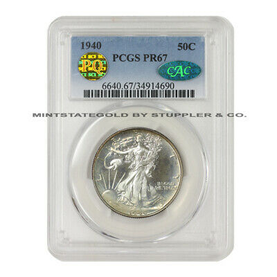 1940 50c Walking Liberty Pcgs Pr67 Cac Pq Approved Silver Half Dollar Proof Coin