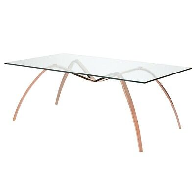 "94"" L Dining Table Clear Tempered Glass Top Polished Rose Gold Bowed Legs"