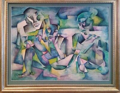 Fantastic Signed Antique Cubist Watercolor With Figures Very Colorful