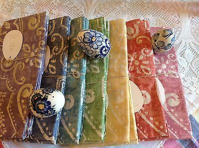 Nwt Pottery Barn***salma**set Of 32 Multi Color Napkins - Sold Out-**holiday