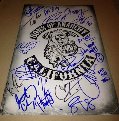 Sons Of Anarchy Cast Hand Signed 11 X 17 In Person Mini Poster Proof 18 Graphs