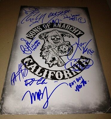 Sons Of Anarchy Cast(x12) Authentic Hand-signed 11x17 Photo(charlie Hunnam)proof