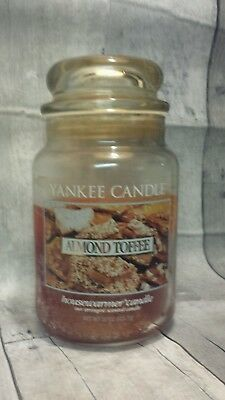 Yankee Candle White Label Almond Toffee Large 22 Oz Retired 1/2 Full #1071538