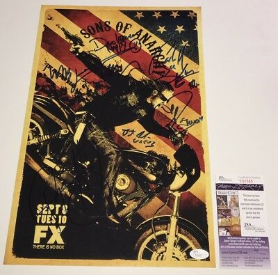 Charlie Hunnam Sons Of Anarchy Cast X8 Signed 11x17 Photo Proof Jsa Coa