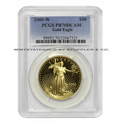 2000-w $50 American Gold Eagle Pcgs Pr70 Dcam 1oz Deep Cameo Proof West Point