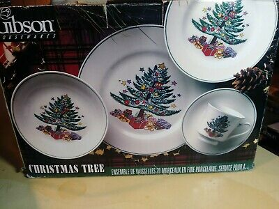 Vintage Rare Nos Gibson Housewares Christmas Tree 20 Pc Fine China Dinneware Set