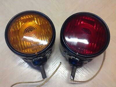 Vintage Pair Yankee 918 2 Sided Turn Signal Early Chevy Truck Red Amber Glass