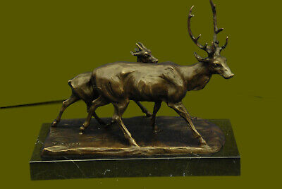 Two Walking Stag By French Artist Bugatti Bronze Sculpture Lost Wax Method Deal