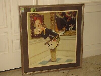 "Norman Rockwell ""art Critic"" Pencil Signed Lithograph Ap Artist"