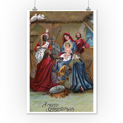 Merry Christmas - Nativity Scene - Vintage Holiday (posters, Wood