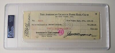 Herb Pennock Signed Auto Autograph 1930 Yankee Payroll Check Babe Ruth  Psa/dna