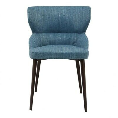 """20.5"""" W Set Of 2 Armless Dining Chair Blue 100% Polyester Modern Steel Frame"""