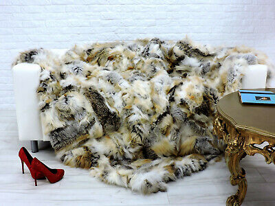 Luxury Real Red Fox Blanket Fur Throw Bed Cover King Size 242