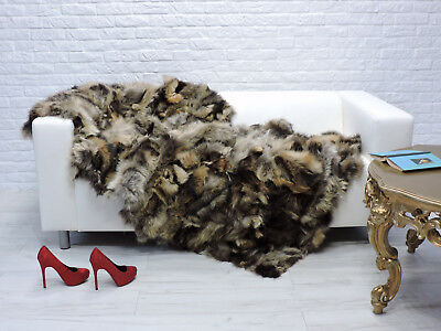 Luxury Real Fox Fur Throw Blanket Sofa Cover Mixed Brown #196