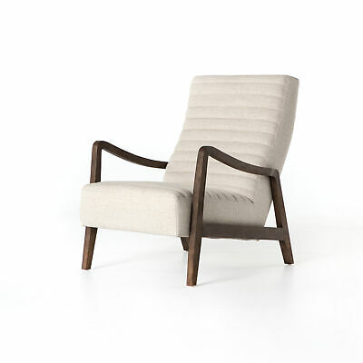 """36.25"""" L Ahmend Chair Occasional 100% Polyester Parawood Linen Natural Rubbed S"""