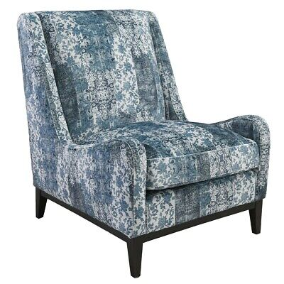 """29"""" Edward Occasional Chair 100% Polyester Blue Floral Print Solid Wood Frame"""