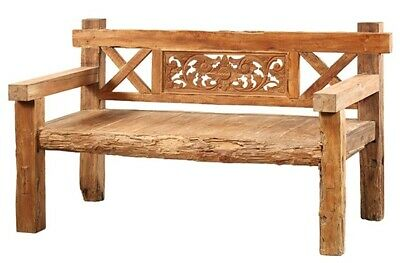 "66"" L Jackson Bench Rustic Rough Cut Seat Solid Wood Carved Back One Of A Kind"