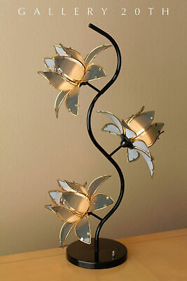 "Fab! Mid Century Modern 3-shade Laurel ""lotus"" Table Lamp! Italy Vtg 1950s 1960s"