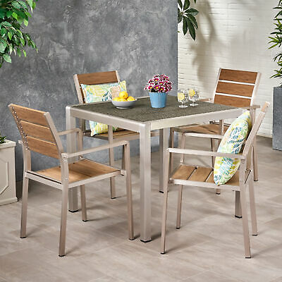 Cherie Outdoor Modern Aluminum 4 Seater Dining Set With Faux Wood Seats And Wick