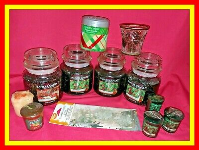 12 Pc Lot Yankee Candle Balsam & Cedar + Cranberry Chutney Jars Votives Spheres