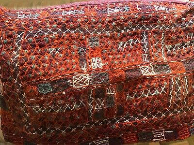 Beautiful Vintage Boho Ethnic Heavily Hand Stitched Floor Throw Pillow Cover