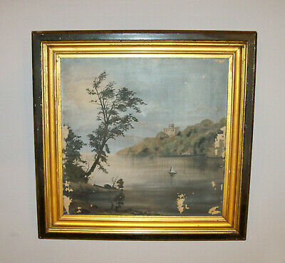 Old Antique Vtg 19th C 1820s Hudson River Valley West Point Painting Oil Canvas