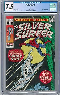 Silver Surfer #14 Cgc 7.5  (ow-w)  Classic Spider-man Cover - Doug Moench Letter