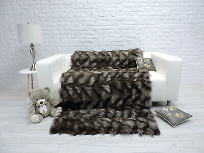 Luxury Real Blue Fox Blanket Throw Sofa Bed Cover Double Size #292