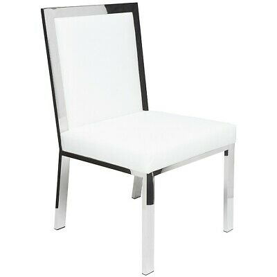"""19.8"""" W Set Of 2 Dining Chair Polished Stainless Steel Frame White Leather Seat"""