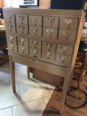 1960 Mid Century Card File 20 Drawer Stacking Cabinet, Pull Out Desk