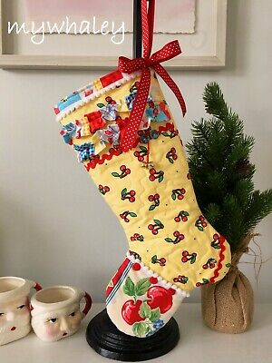 New! Quilted Christmas Stocking Made W/ Mary Engelbreit Cherries~ruffles Pom-pom