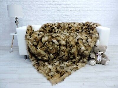 Luxury Real Crystal Fox Blanket Fur Throw Double Size Sofa Cover 302
