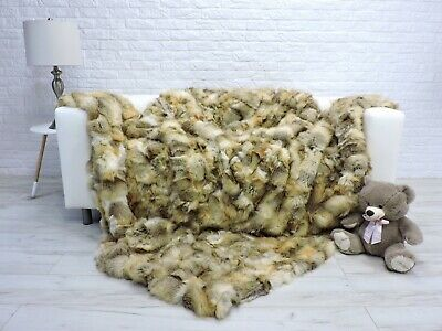 Luxury Real Argentina Fox Blanket Fur Throw King Size Sofa Cover 301