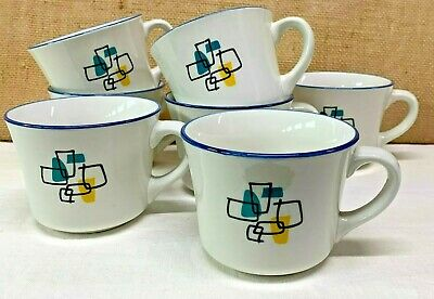 Set Of 8 Gibson Housewares Mugs Blue Green Black Graphic Retro Squares Kitsch