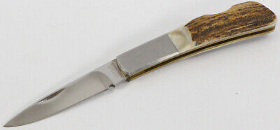 Vintage Gerber Silver Knight 250a Stag Stainless Steel Folding Knife With Box