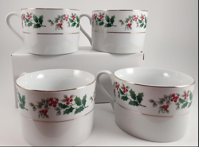 Gibson Housewares Christmas Charm Holly Berry 4 Flat Cups
